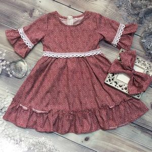 Other - Boutique Girls Red Mini Hearts Dress & Headband